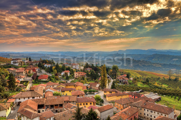 Italian town at sunset. Piedmont, Italy. Stock photo © rglinsky77