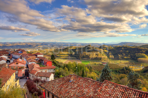 Small town among hills. Piedmont, Italy. Stock photo © rglinsky77