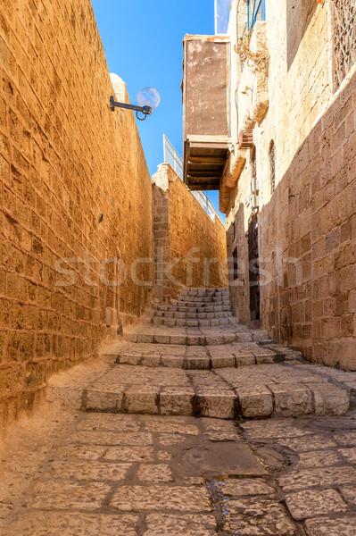 Eski sokak dar taş şehir duvar Stok fotoğraf © rglinsky77