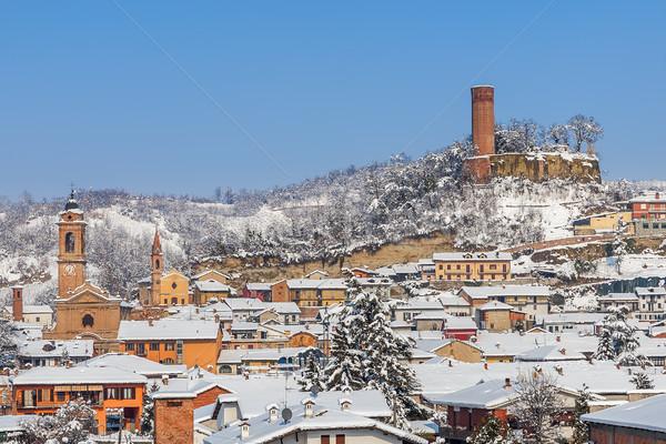 Pequena cidade neve cidade coberto branco ensolarado Foto stock © rglinsky77