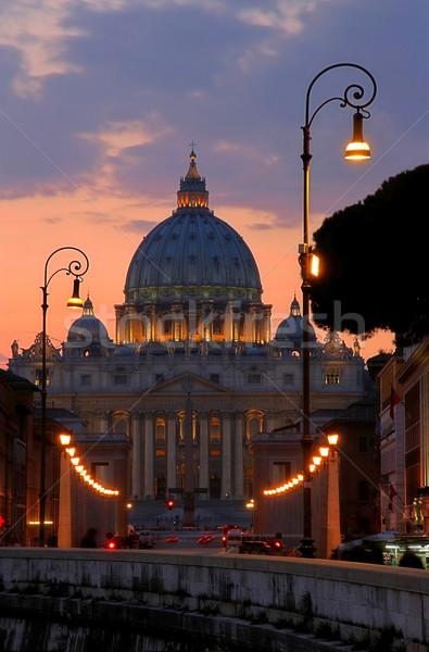 Bazilika aziz vatikan katedral akşam karanlığı kilise Stok fotoğraf © rglinsky77