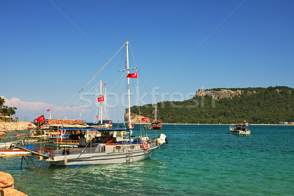 Bay with yachts on Mediterranean Sea inTurkey. Stock photo © rglinsky77