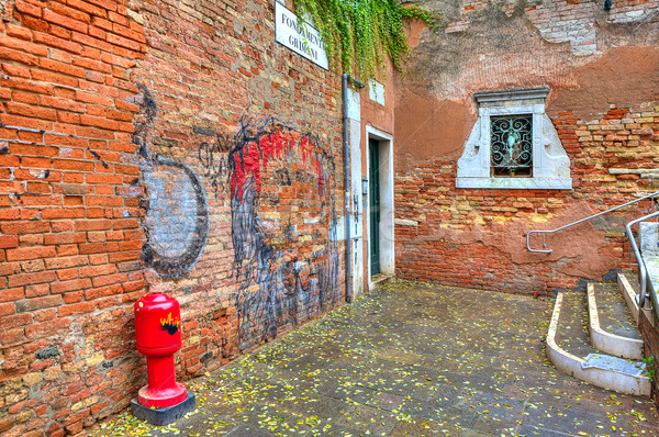 Brick walls and small courtyard in Venice, Italy. Stock photo © rglinsky77