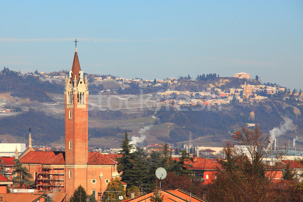 City church and villages on surrounding hills. Stock photo © rglinsky77
