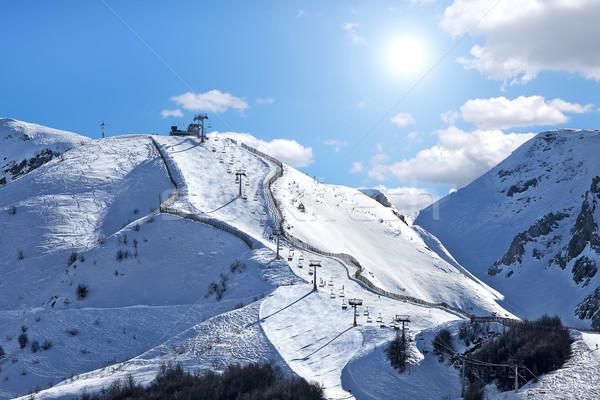 Hegyek fedett hó kék ég sí útvonal Stock fotó © rglinsky77
