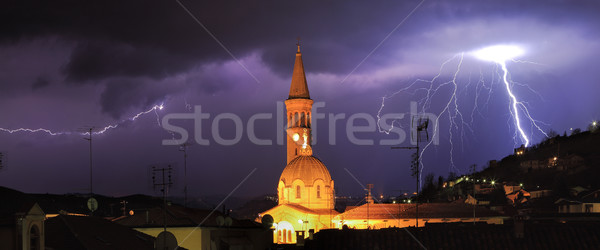 Lightning over Alba and surrounding hills in Italy. Stock photo © rglinsky77