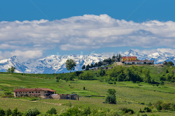 Vert champs montagnes Italie rural maisons Photo stock © rglinsky77