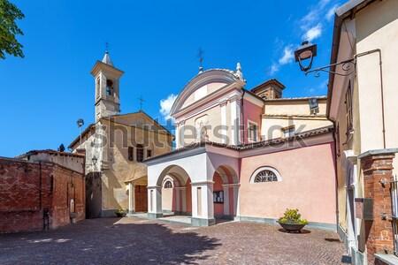 Iki kiliseler küçük İtalyan kasaba Stok fotoğraf © rglinsky77