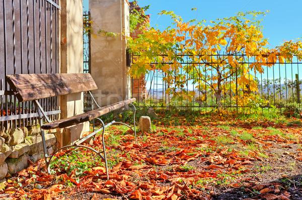 Ahşap bank kırmızı yaprakları zemin İtalya Stok fotoğraf © rglinsky77