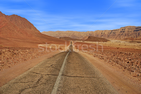 Road and red mountains in Timna park. Stock photo © rglinsky77