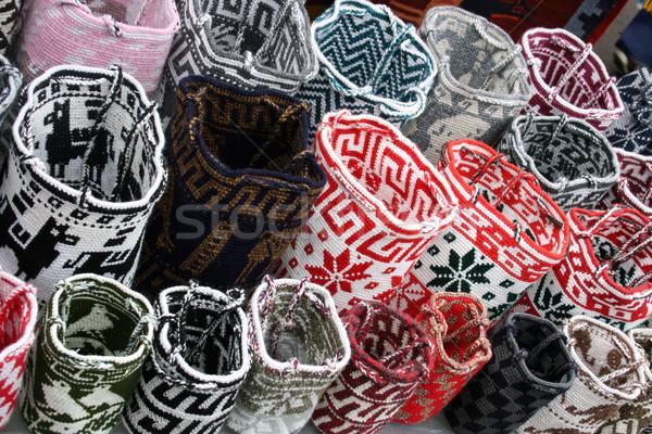 Wool Bags at the Otavalo Craft Market Stock photo © rhamm