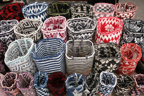 Feito à mão sacos lã variedade cores venda Foto stock © rhamm