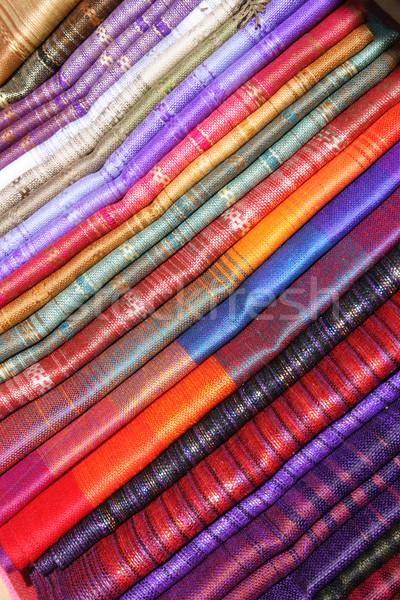 Ropa de cama mercado hecho a mano variedad colores venta Foto stock © rhamm