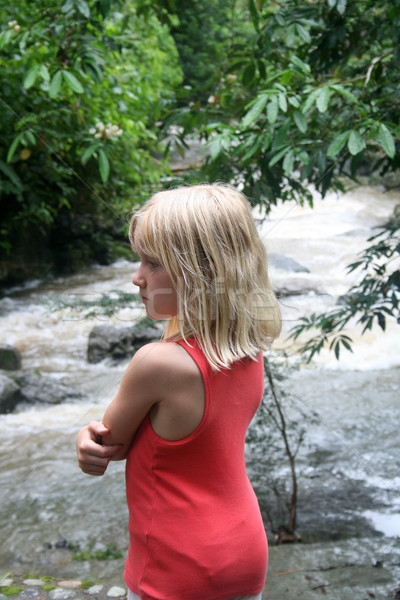 Young Girl Looking Over River Stock photo © rhamm