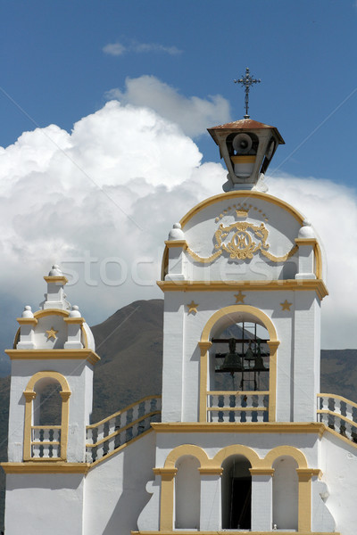 Quiroga Church With Storm Clouds on Mount Cotacachi Stock photo © rhamm