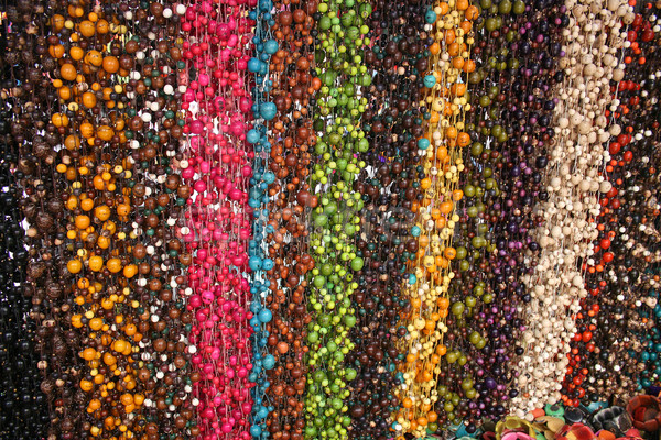Strings of Tagua Beads at the Otavalo Market Stock photo © rhamm