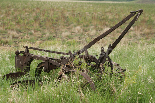Antigo abandonado campo enferrujado dois agricultores Foto stock © rhamm