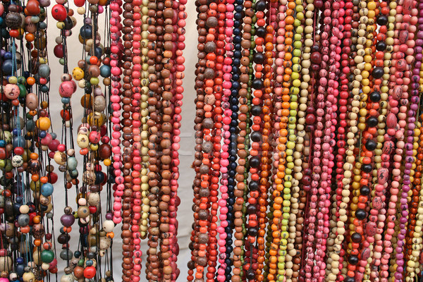 Colorful Strands of Tagua Beads at the Otavalo Market Stock photo © rhamm