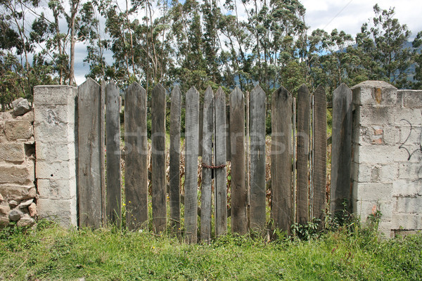 Picket Gate in Stone Wall Stock photo © rhamm