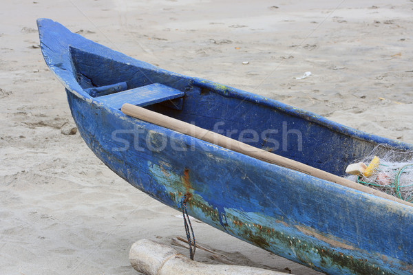 Bow of a Blue Wood Fishing Boat Stock photo © rhamm