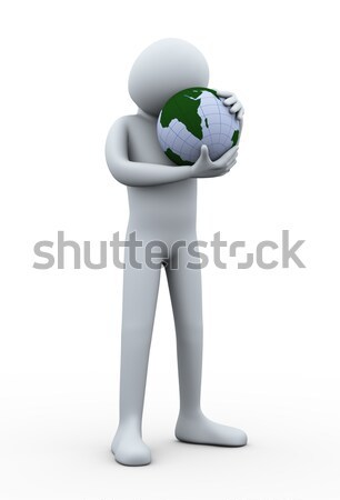 Foto d'archivio: Uomo · 3d · mondo · abbraccio · salvare · terra · illustrazione · 3d