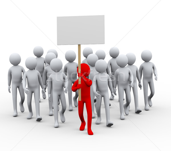 3d leader people protest strike Stock photo © ribah