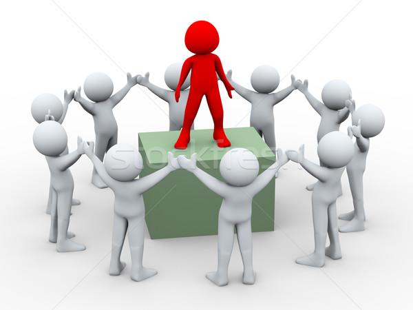 3D chef d'équipe équipe 3d illustration groupe leader Photo stock © ribah