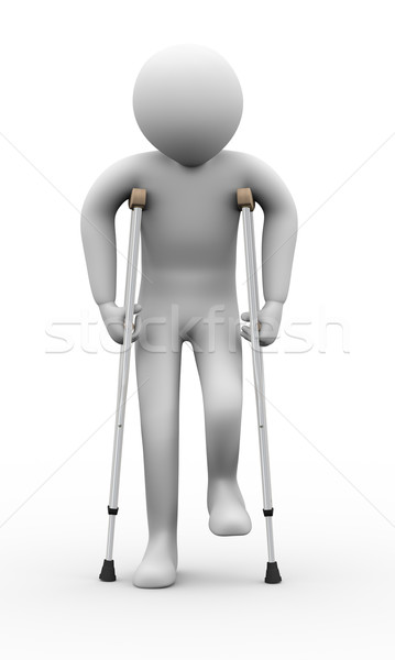3d man with crutches Stock photo © ribah
