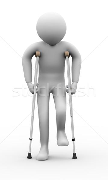 O homem 3d muletas ilustração 3d pessoa 3D Foto stock © ribah