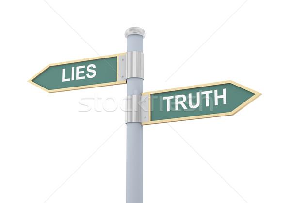 3d lies truth road sign Stock photo © ribah