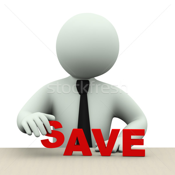 3d business man with word save Stock photo © ribah