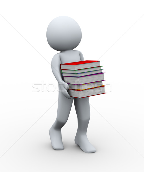 Stock photo: 3d man with books