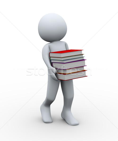 O homem 3d livros ilustração 3d pessoa 3D Foto stock © ribah