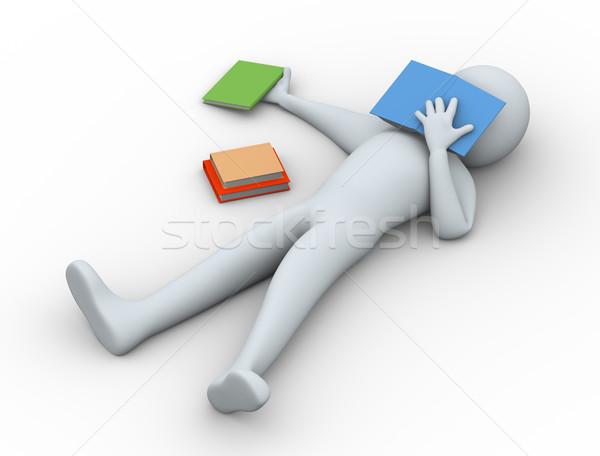 3D yorgun öğrenci uyku 3d illustration adam Stok fotoğraf © ribah