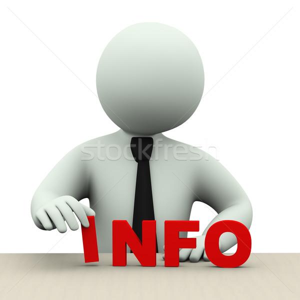 3D człowiek biznesu słowo info 3d ilustracji Zdjęcia stock © ribah