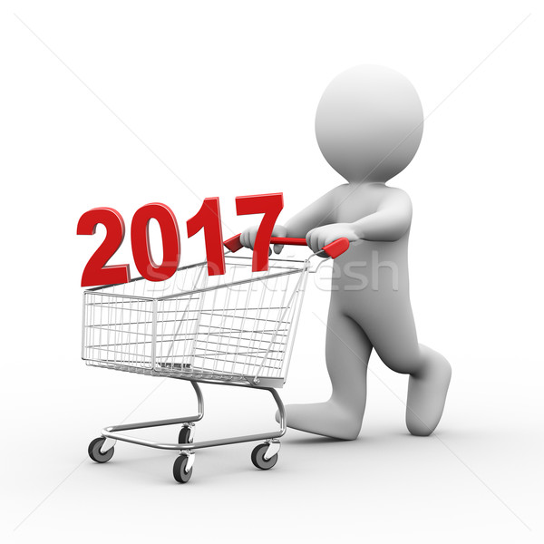3d man with shopping 2017 cart trolley Stock photo © ribah