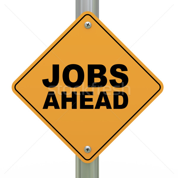 3d road sign jobs ahead Stock photo © ribah