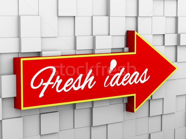3d abstract cube wall arrow - idea bulb Stock photo © ribah