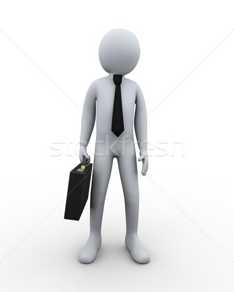3d businessman with briefcase Stock photo © ribah