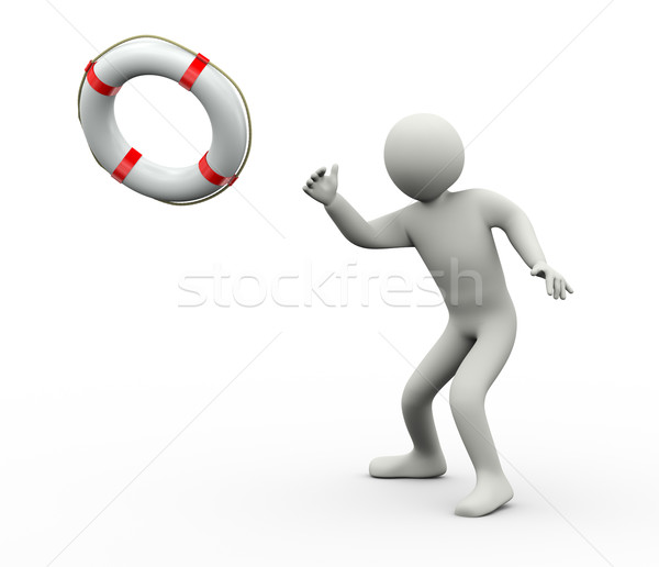 3d rescuer throwing life preserver Stock photo © ribah