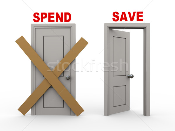 3d spend and save doors Stock photo © ribah