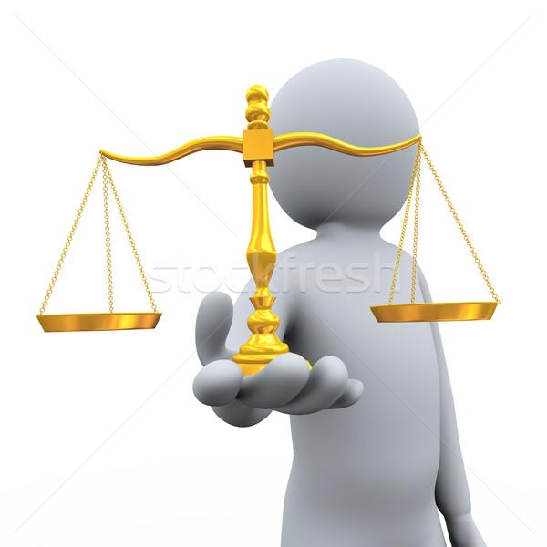 Hombre 3d equilibrio escala 3d persona Foto stock © ribah