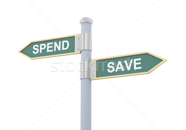3d spend save road sign Stock photo © ribah