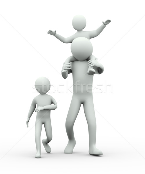 3d man giving piggy back ride to child Stock photo © ribah