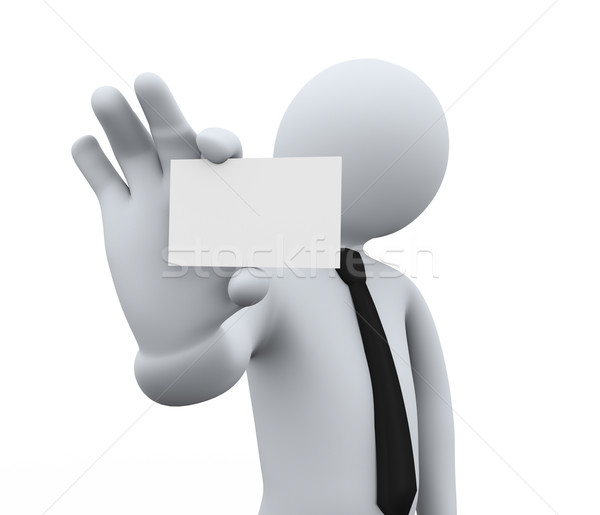 3d businessman showing blank business card Stock photo © ribah