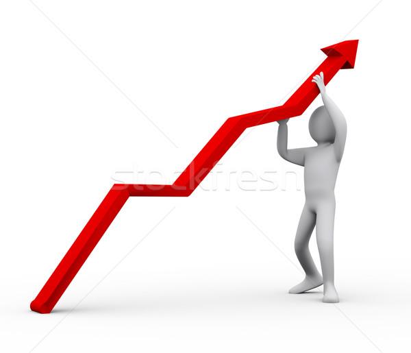 3d man pushing red arrow upward Stock photo © ribah