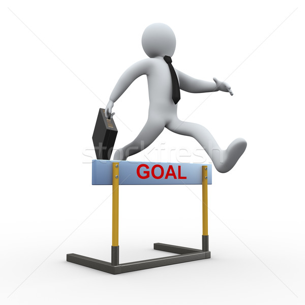 3d businessman hurdle jump - goal Stock photo © ribah