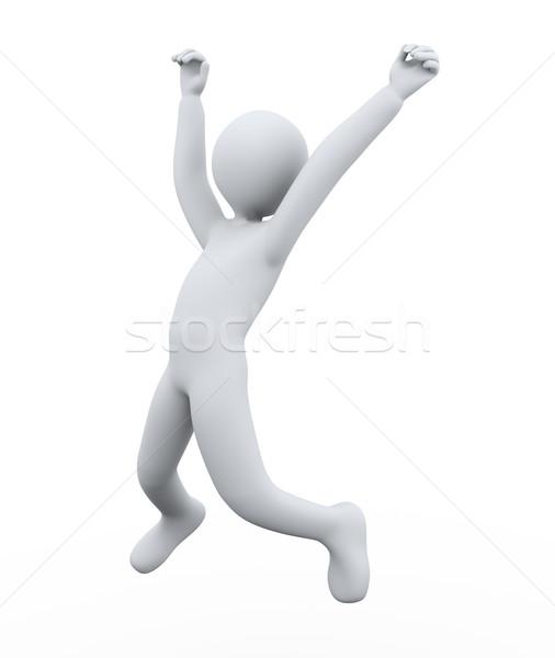 Stok fotoğraf: 3d · man · sevinç · atlama · 3d · illustration · kişi · mutluluk