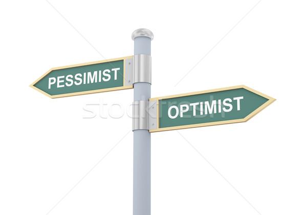 Stock photo: 3d pessimist optimist road sign