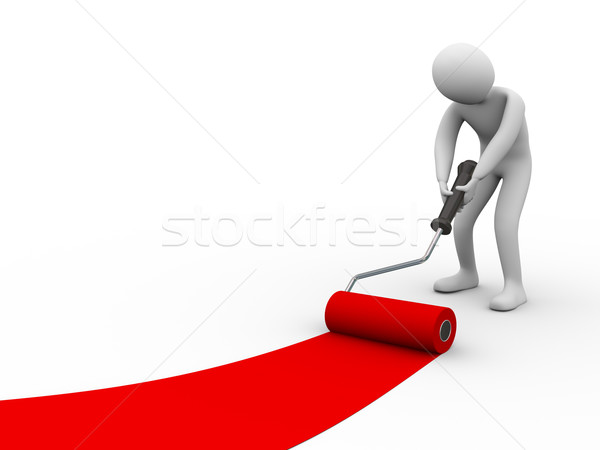 3d person painting with roller brush Stock photo © ribah